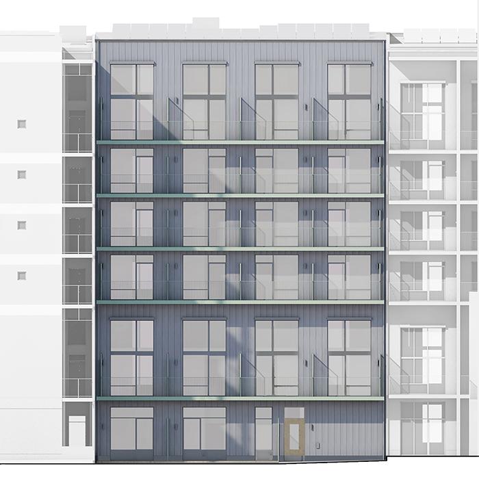 RAW fasad hus B innergård 700