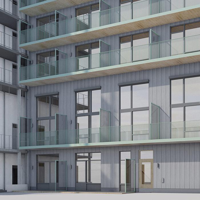 RAW fasad hus B innergård persp 700