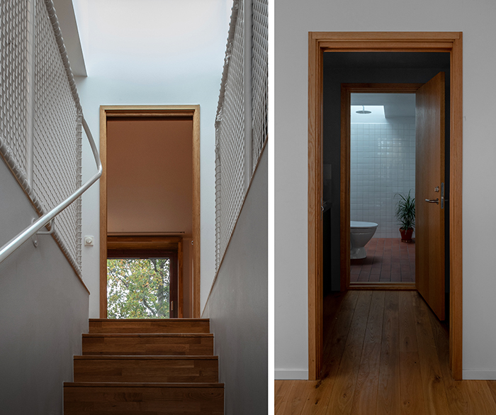 Generous skylights are placed above the stair and in the bathroom.