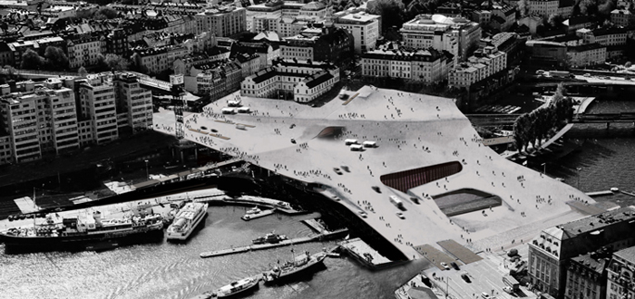 The curved fold reveals the subway underneath. Whats going on under the skin of Slussen??