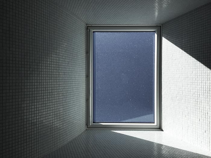 Looking up towards bathroom skylight