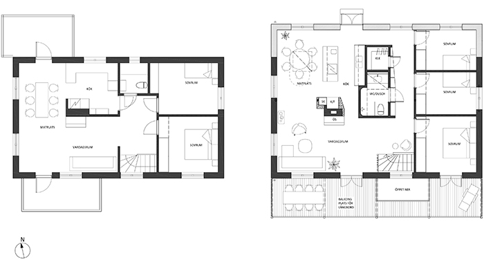Before and after: 2 m additional depth resulted in a completely new floor plan!